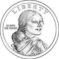 Sacagawea portrayed in three-quarter profile. On her back, Sacagawea carries Jean Baptiste, her infant son and the inscriptions Liberty and IN GOD WE TRUST