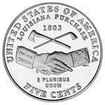 Nickel reverse: Louisiana Purchase/Peace Medal design